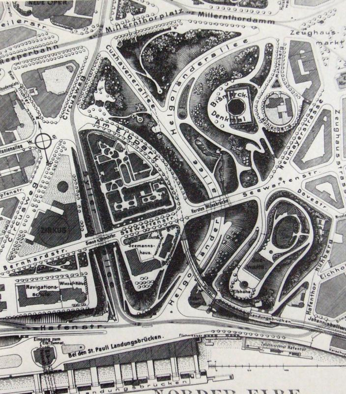 Alter Elbpark um 1904 (aus: August Hoffmann, Hygienische und soziale Betätigung Deutscher Städte auf den Gebieten des Gartenbaus. Düsseldorf 1904, S. 222)