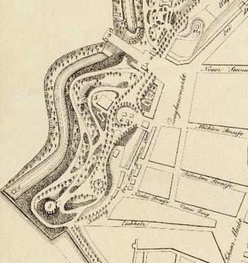 Grundriss des Hamburgischen Walles und der daran gränzenden Strassen. gez. C. A. Schwarz. Hamburg 1834 (Ausschnitt. Quelle: Staats- und Universitätsbibliothek Hamburg)