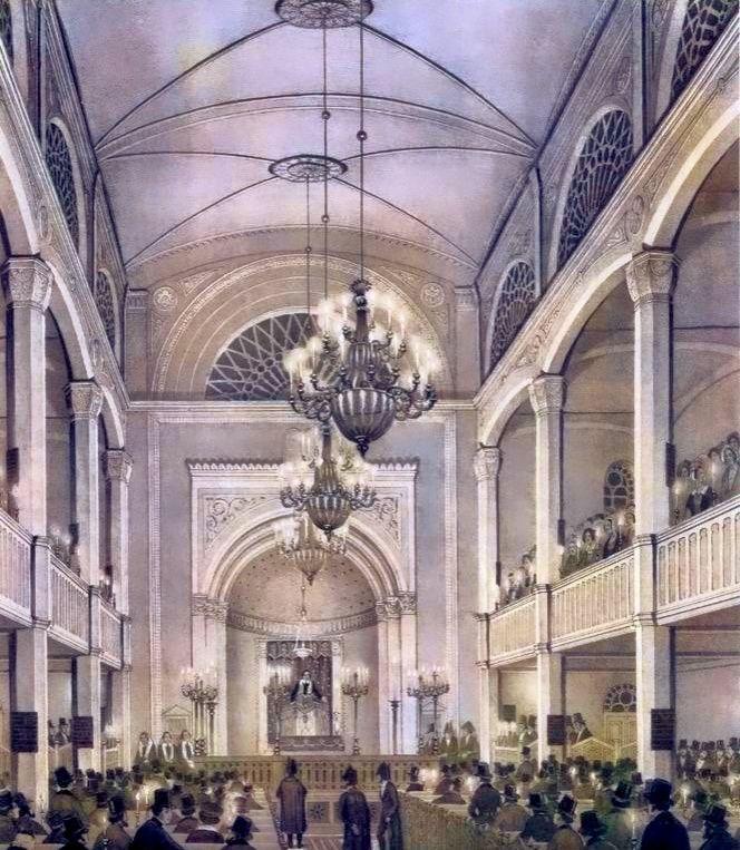 Innenansicht des Tempels am Abend seiner Einweihung am 5. September 1844, Quelle: Institut der Geschichte der deutschen Juden