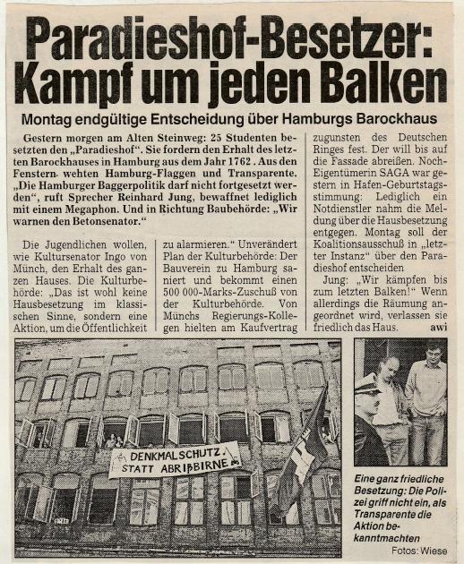Ausschnitt Artikel MOPO, 06.05.1989; Foto: MOPO
