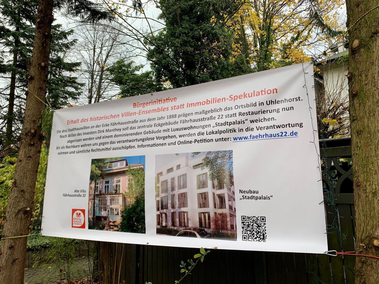 Die Initiative hat mit einem Plakat auf die Petition gegen den Abriss hingewiesen, Foto: Kristina Sassenscheidt